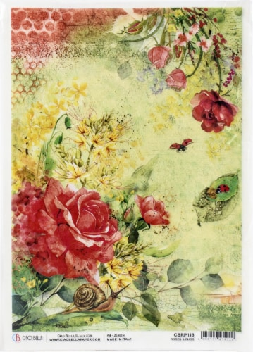 Ciao Bella Rice Paper Sheet A4 5/Pkg-Roses & Bugs, Microcosmos Perspective: front