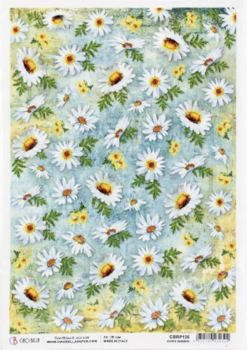 Ciao Bella Rice Paper Sheet A4 5/Pkg-White Daisies, Microcosmos Perspective: front
