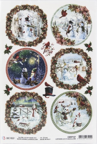 Ciao Bella Rice Paper Sheet A4 5/Pkg-Medallions, Northern Lights Perspective: front