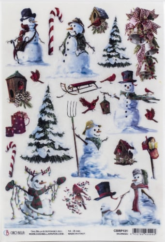 Ciao Bella Rice Paper Sheet A4 5/Pkg-Snowmen, Northern Lights Perspective: front