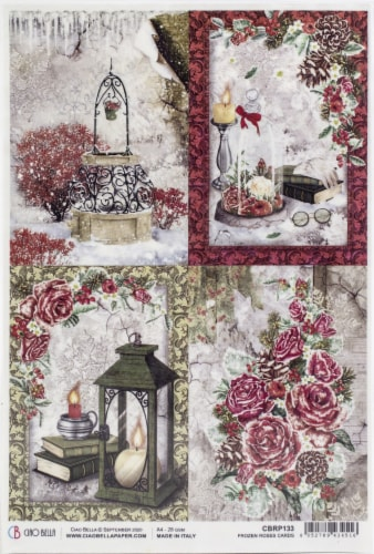 Ciao Bella Rice Paper Sheet A4 5/Pkg-Cards, Frozen Roses Perspective: front
