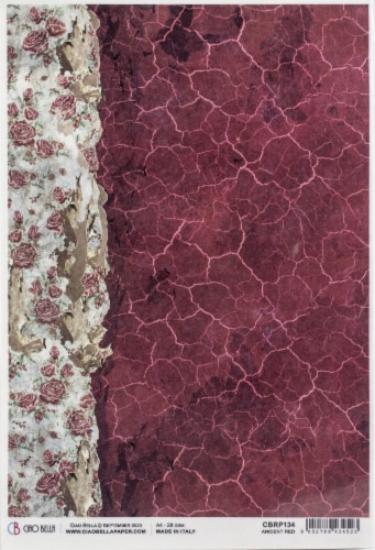 Ciao Bella Rice Paper Sheet A4 5/Pkg-Ancient Red, Frozen Roses Perspective: front
