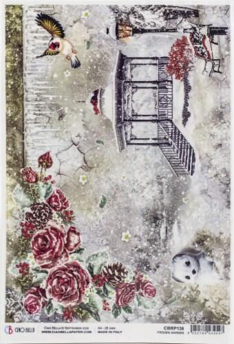 Ciao Bella Rice Paper Sheet A4 5/Pkg-Frozen Garden, Frozen Roses Perspective: front