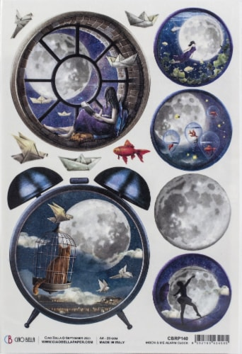 Ciao Bella Rice Paper Sheet A4 5/Pkg-Alarm Clock, Moon & Me Perspective: front