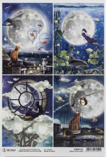 Ciao Bella Rice Paper Sheet A4 5/Pkg-Cards, Moon & Me Perspective: front