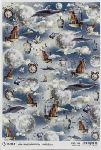 Ciao Bella Rice Paper Sheet A4 5/Pkg-Moon & Me Perspective: front