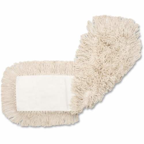 Genuine Joe GJO24500CT 24 x 5 in. Disposable Cotton Dust Mop Refill - Natural Perspective: front