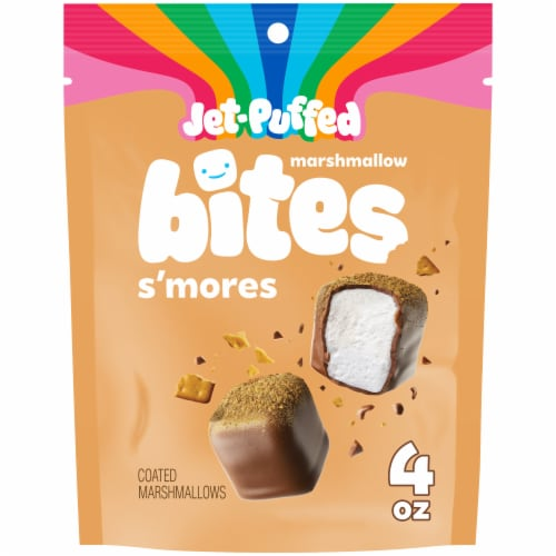 Jet-Puffed Marshmallow Bites S'mores Coated Marshmallows Perspective: front