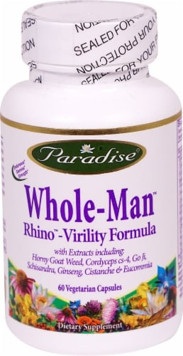 Paradise Herbs Whole-Man Rhino-Virility Formula Vegetarian Capsules Perspective: front
