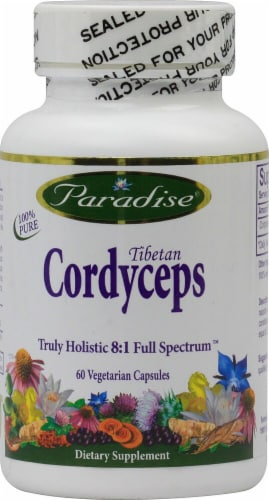 Paradise Herbs Tibetan Cordyceps Vegetarian Capsules Perspective: front