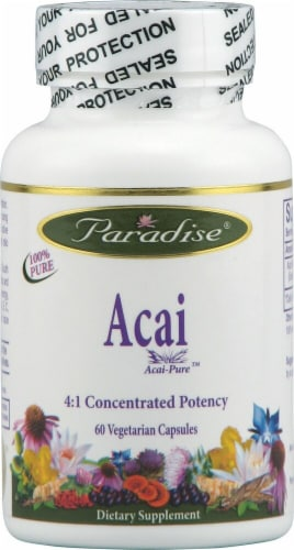 Paradise Herbs Acai Pure Vegetarian Capsules Perspective: front