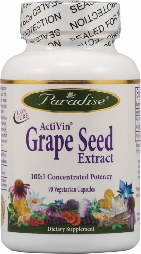 Paradise Herbs ActiVin Grape Seed Extract Vegetarian Capsules Perspective: front