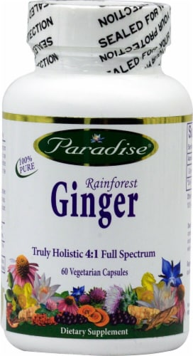 Paradise Herbs Rainforest Ginger Vegetarian Capsules Perspective: front