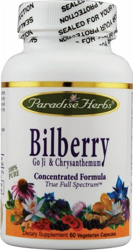 Paradise Herbs Bilberry Go Ji And Chrysanthemum Vegetarian Capsules Perspective: front