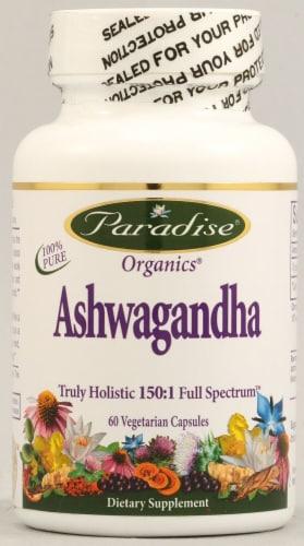 Paradise Herbs Organic Ashwagandha Vegetarian Capsules Perspective: front