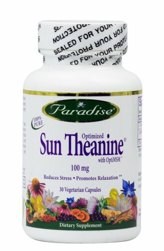 Paradise Herbs Optimized Sun Theanine Vegetarian Capsules 100 mg Perspective: front