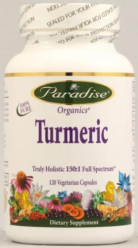 Paradise Herbs Organics Turmeric Vegetarian Capsules Perspective: front