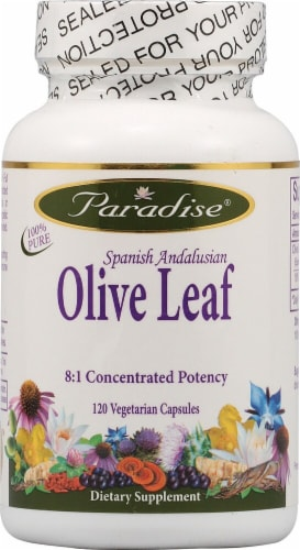 Paradise Herbs Olive Leaf Vegetarian Capsules Perspective: front
