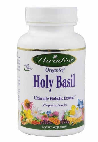 Paradise Herbs Organics Holy Basil Vegetarian Capsules Perspective: front