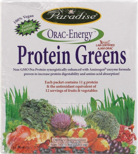 Paradise Herbs Orac Energy Protein Greens Dietary Supplement Packets Perspective: front