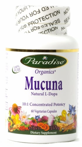 Paradise Herbs Mucuna Natural L-Dopa Vegetarian Capsules Perspective: front