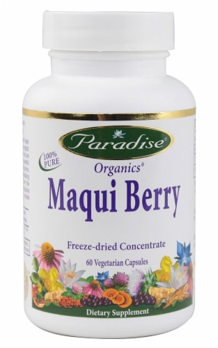 Paradise Herbs Organics Maqui Berry Vegetarian Capsules Perspective: front