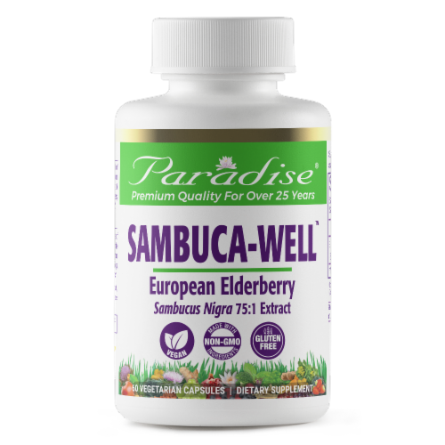 Paradise Herbs Sambuca-Well Elderberry Extract Vegetarian Capsules Perspective: front