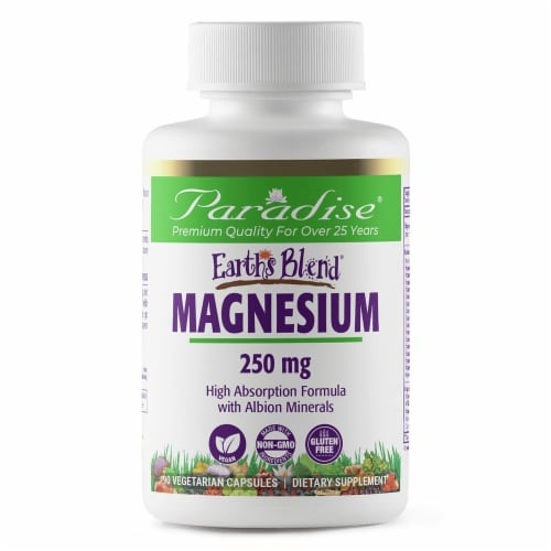 Paradise Herbs Earth's Blend Magnesium Vegetarian Capsules 250 mg Perspective: front
