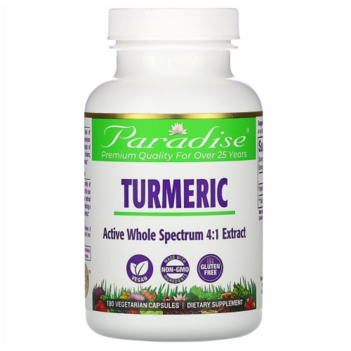 Paradise Herbs Gluten Free Turmeric 4:1 Extract Vegetarian Capsules Perspective: front