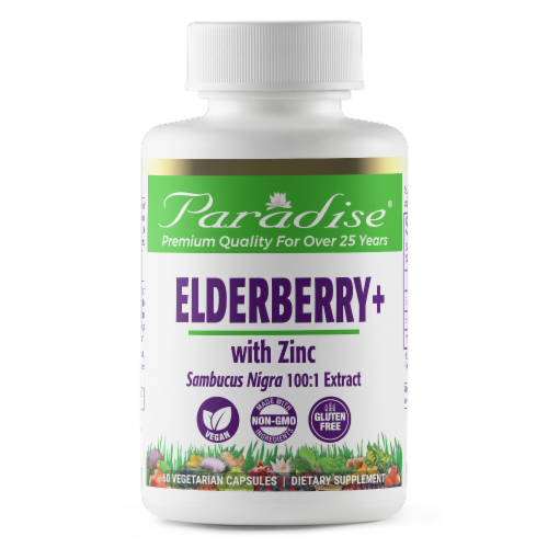 Paradise Herbs Elderberry + with Zinc Supplement Vegetarian Capsules Perspective: front