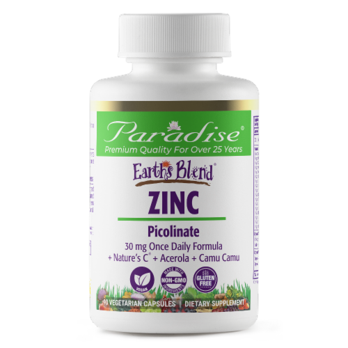 Paradise Earth's Blend Zinc Picolinate Vegetarian Capsules Perspective: front