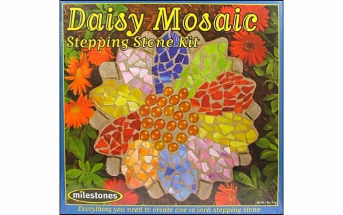 Mosaic Stepping Stone Kit-Daisy Perspective: front