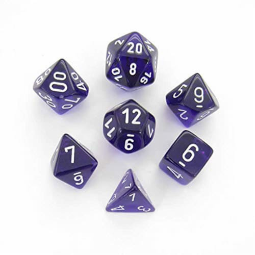 Chessex 7 Set Polyhedral Dice Translucent Purple White CHX23077 Perspective: front