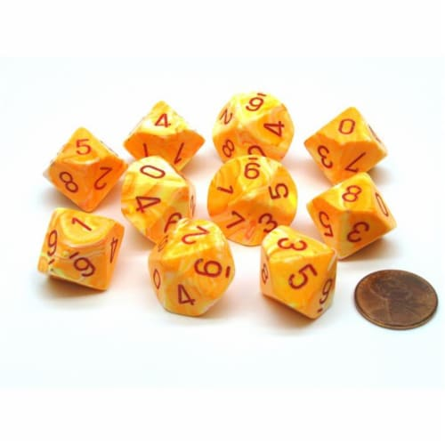 Chessex Manufacturing CHX27253 D10 Clamshell Festive Sunburst & Red Dice - 10 Piece Perspective: front