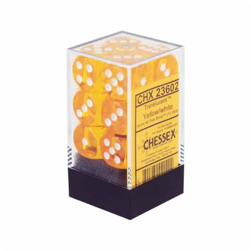 Chessex 12 Count 16mm D6 Translucent Yellow White Dice CHX23602 Perspective: front