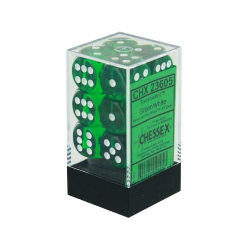 Chessex 12 Count 16mm D6 Translucent Green White Dice CHX23605 Perspective: front