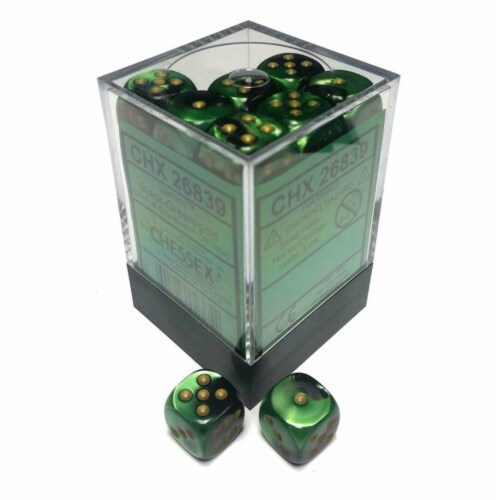 Chessex 12mm D6 Gemini Black Green Gold Set Dice 36 Count 26839 Perspective: front