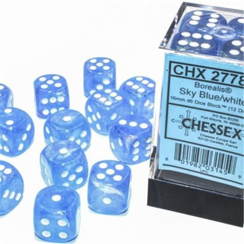 Chessex Manufacturing CHX27786 16 mm D6 Cube Borealis Luminary Dice, Sky Blue with White Numb Perspective: front