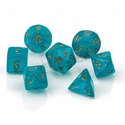 Chessex 7 Set Polyhedral Dice Borealis Teal Gold Luminary CHX27585 Perspective: front