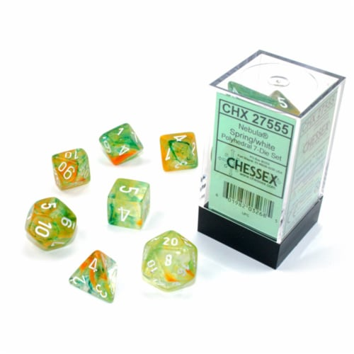 Chessex 7 Set Polyhedral Dice Nebula Spring White  Luminary CHX27555 Perspective: front
