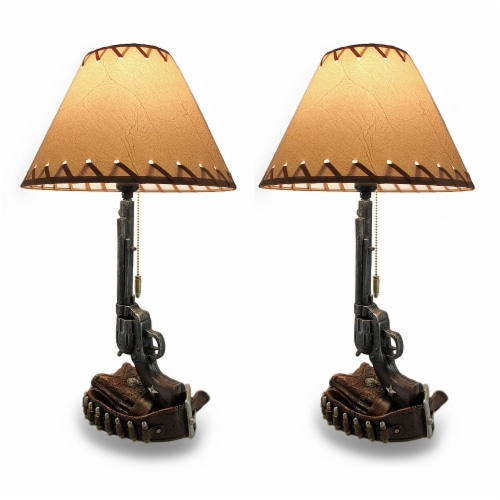 Set of 2 Old West Six Shooter Revolver and Holster Table Lamps Perspective: front