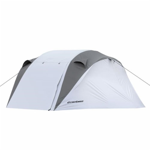 Echosmile 4-6 Person Gray Pop Up Tent With Rain Fly Perspective: front