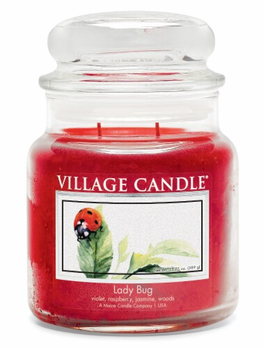 Village Candle Lady Bug Scented Jar Candle - Red Perspective: front
