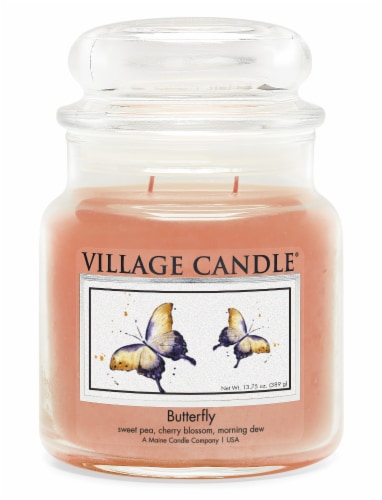 Village Candle Butterfly Scented Jar Candle - Peach Perspective: front