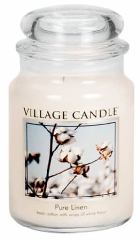 Village Candle Pure Linen Jar Candle Perspective: front