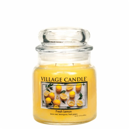 Village Candle Fresh Lemon Scented Jar Candle - Yellow Perspective: front