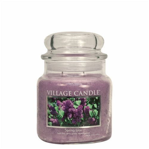 Village Candle Spring Lilac Scented Jar Candle - Purple Perspective: front
