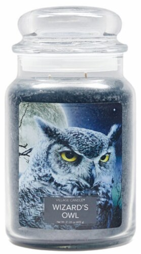 Village Candle Wizard's Owl Jar Candle Perspective: front
