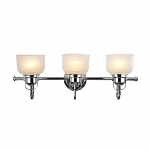 IRONCLAD Industrial-style 3 Light Chrome Finish Bath Vanity Wall Fixture Perspective: front