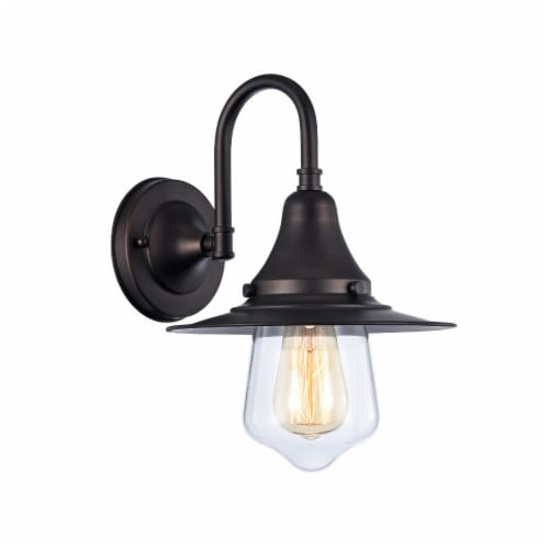 CHLOE Lighting IRONCLAD Industrial-style 1 Light Rubbed Bronze Wall Sconce 9  Wide Perspective: front